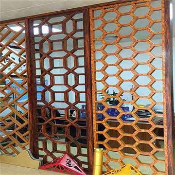 酒店别墅仿木装饰中式铝屏风厂家直销