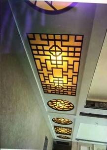 新中式客厅走廊仿古铝窗花吊顶